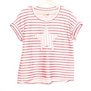 Style Co Womens Top Star Striped Red Large AU